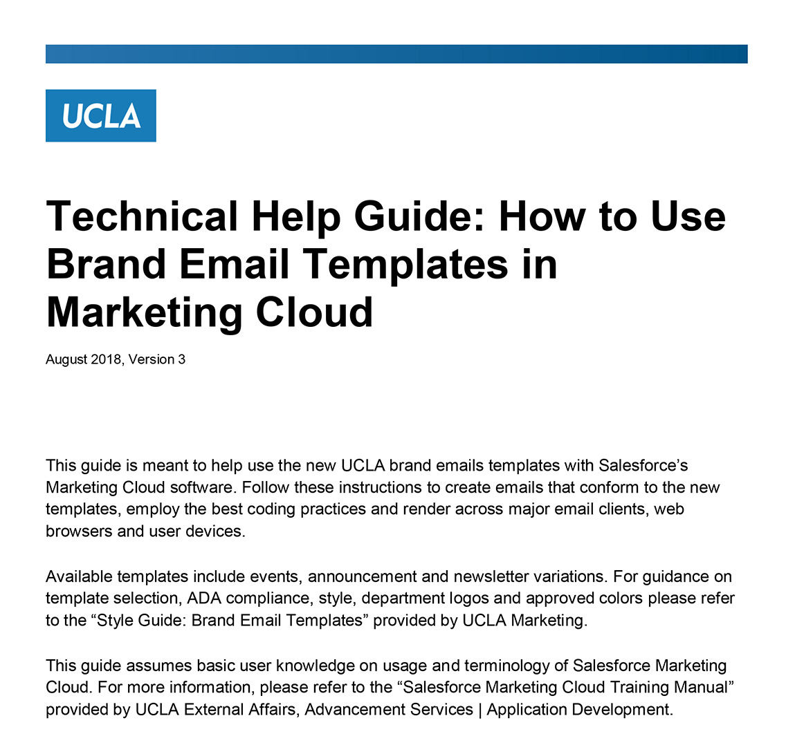 A preview of the Salesforce Marketing Cloud Help Guide