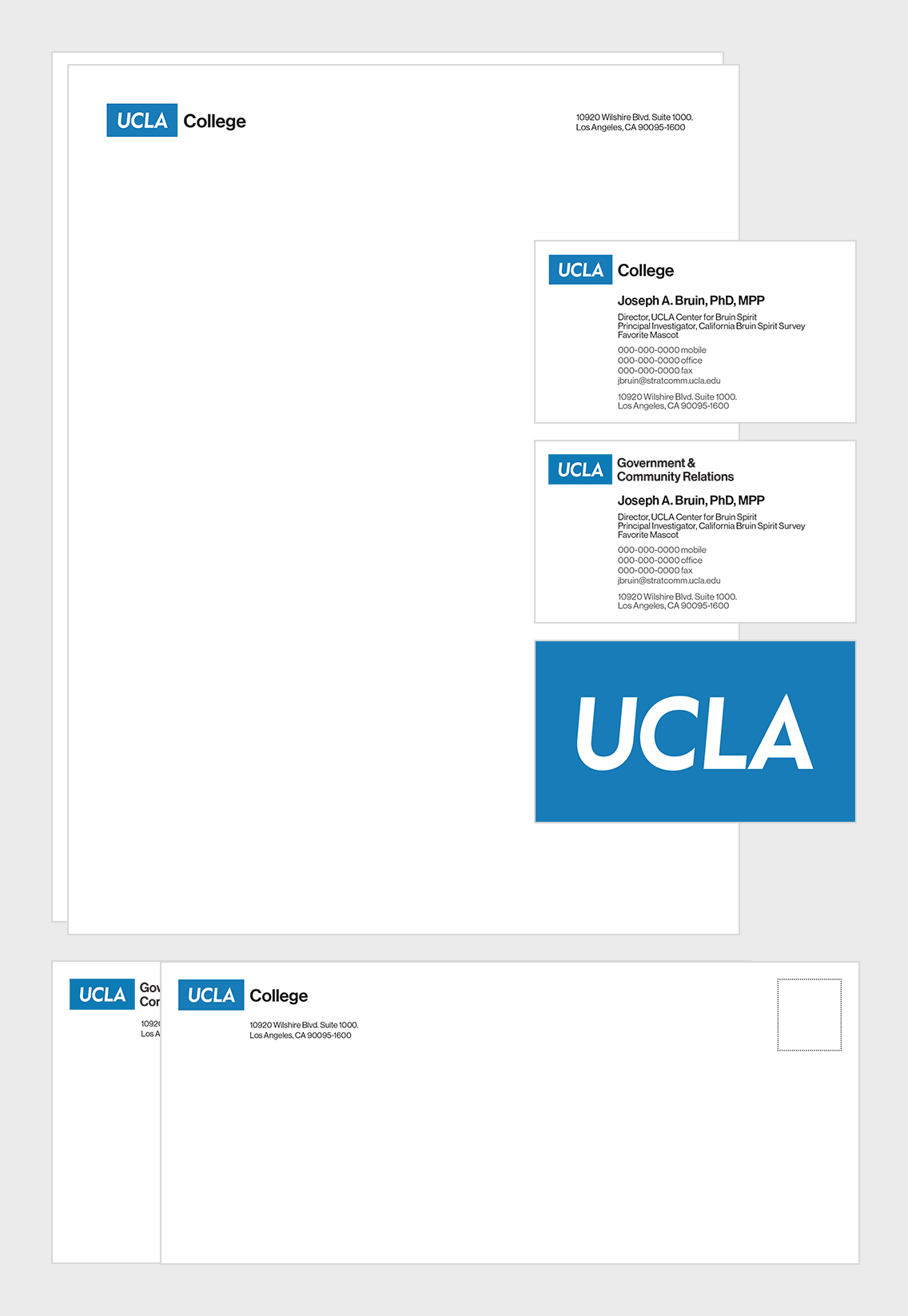 Front of business card, back of business card: option 1, back of business card: option 2, envelope and letterhead.