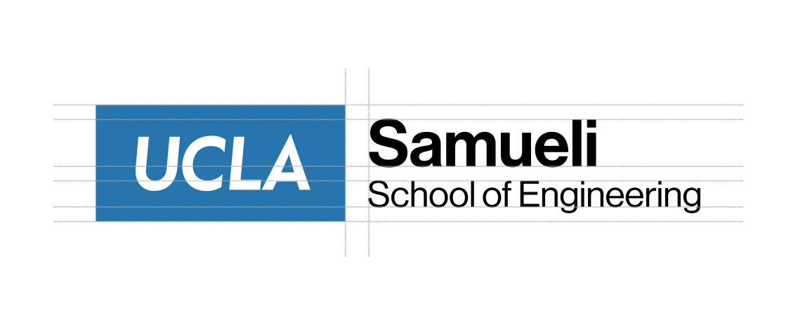 "Diagram shows how the department logo system combines the boxed UCLA logo with the ""Samueli School of Engineering"" lettering."
