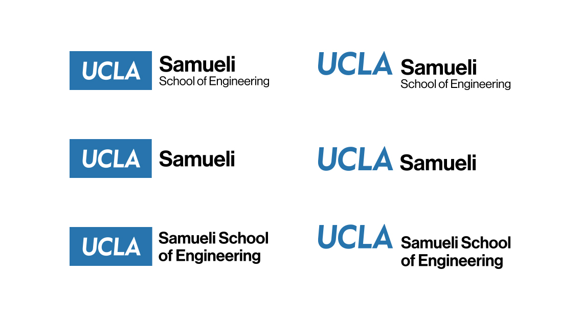 The department logo system applied to the UCLA College, UCLA Anderson School of Management, and UCLA School of Nursing