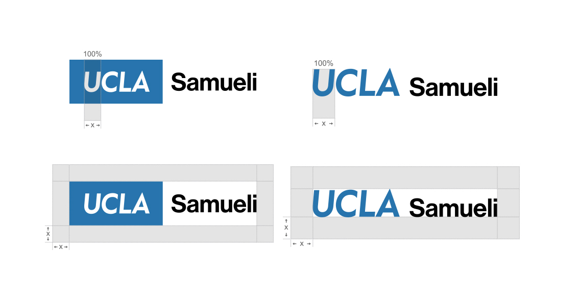"Four diagrams showing width of ""U"" as the measure of required clear space around department logos"