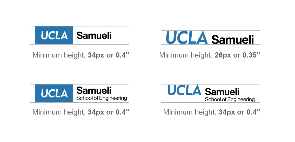 Four diagrams showing minimum sizes for department logos