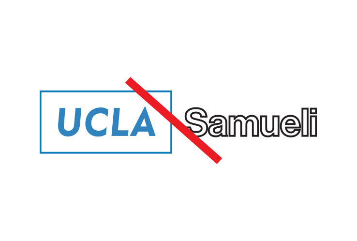 "Example with outlines around campus logo, outline type for the name ""Samueli"""