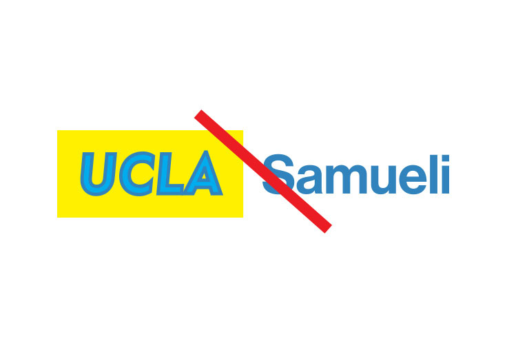 Example shows altered campus logo on gold.