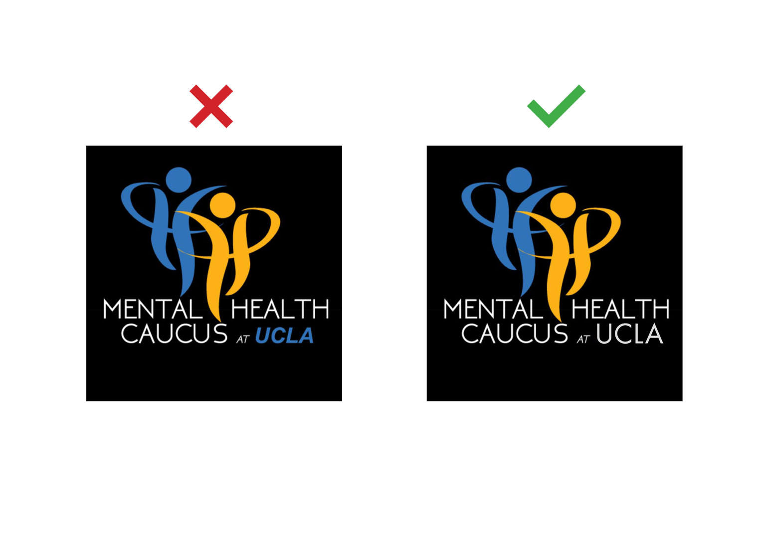 UCLA student group typesetting and logo example: Mental Health Caucus