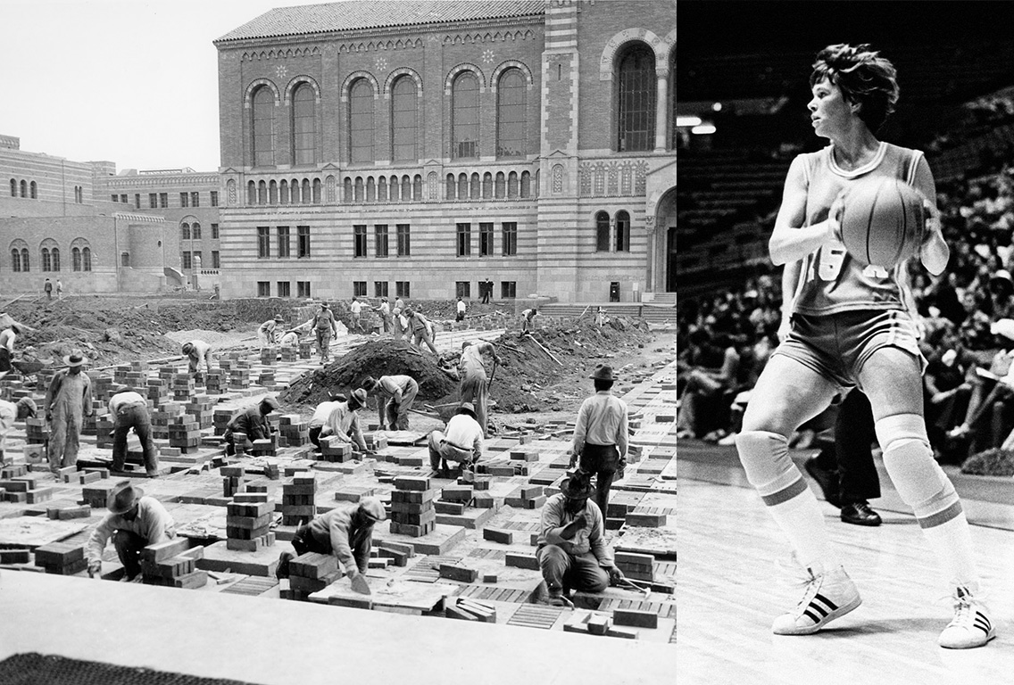 Collage of black and white photos of workers building brick path in front of Powell library and Ann Meyers Drysdal with basketball