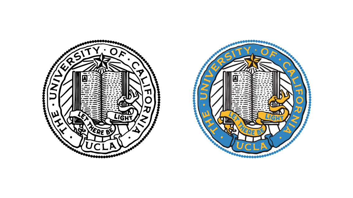 Three versions of the UCLA campus seal: UCLA Blue on white; black on white; UCLA Blue and Gold plus black