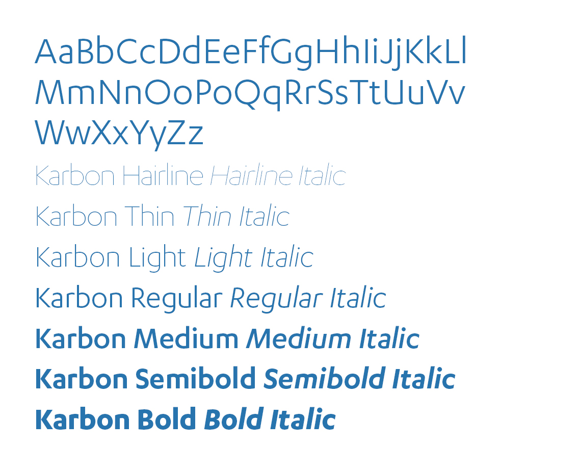 Alphabet and numerals shown in Karbon Regular, plus one-line samples of Hairline, Thin, Light, Medium, Semibold and Bold