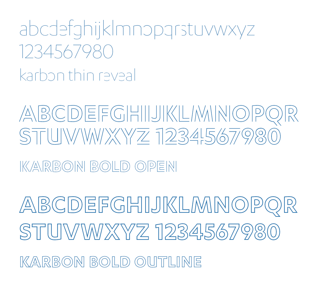 Custom Karbon samples in Thin Reveal, Bold Outline, and Bold Open Outline